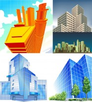 5 office building vector material