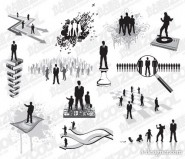 A variety of business figures silhouette vector material