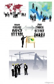 All kinds of business people silhouette vector material