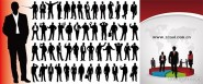 Business figures silhouette with statistical round cake Vector