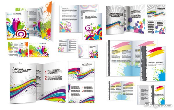 Colorful the folding leaflet design vector material