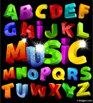 Colorful three dimensional letters of the alphabet vector material