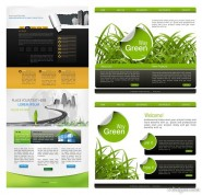 Four page templates vector material