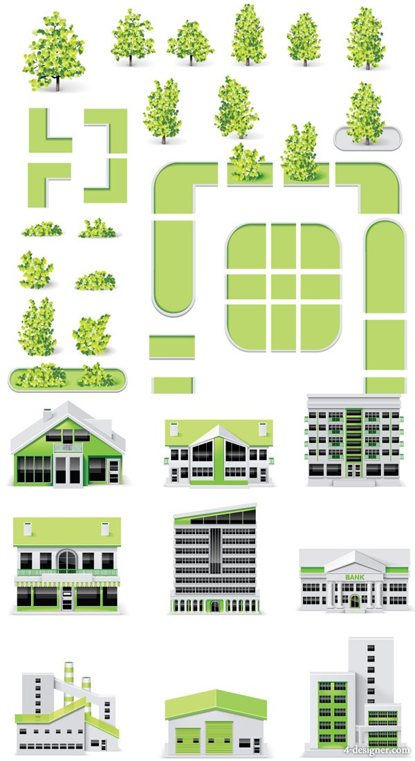Green belt and buildings   Vector material