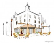 Hand painted European cafe 04   vector material