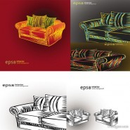 Hand painted styles Sofa vector material