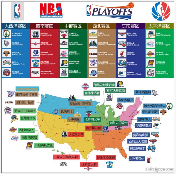 4-Designer | NBA team label and distribution map vector material