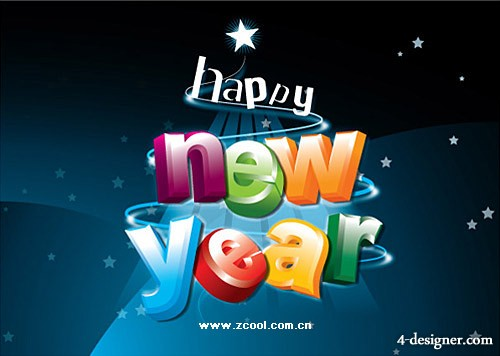 Stereoscopic Happy New Year English Vector Vector