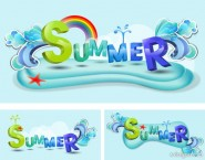 Summer theme font vector design material