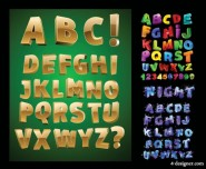 Three dimensional letters of the alphabet vector material