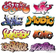 Exquisite graffiti font design 03   vector material