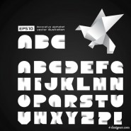 creative origami letters Vector   Vector creative; origami; letters of the alphabet; grandmother; Qianzhi;