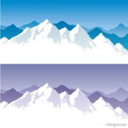 Cartoon Snow Mountain Vector   Vector