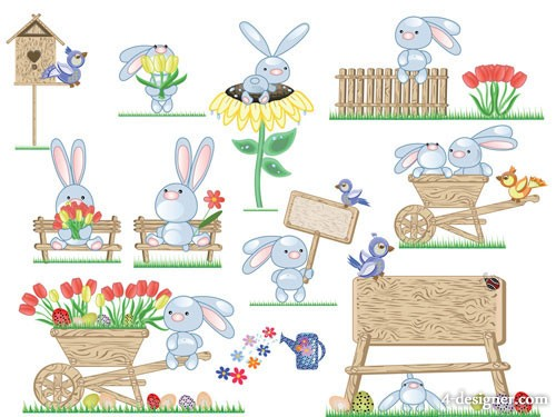 Cute Easter egg bunny vector material  2