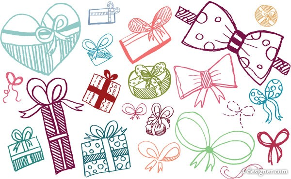 Lovely hand painted gift bow vector material