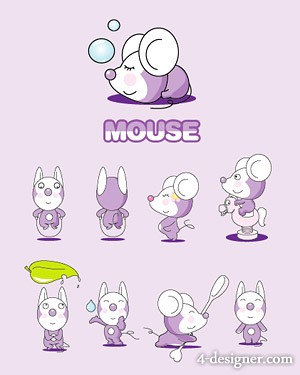 Mouse baby set vector material