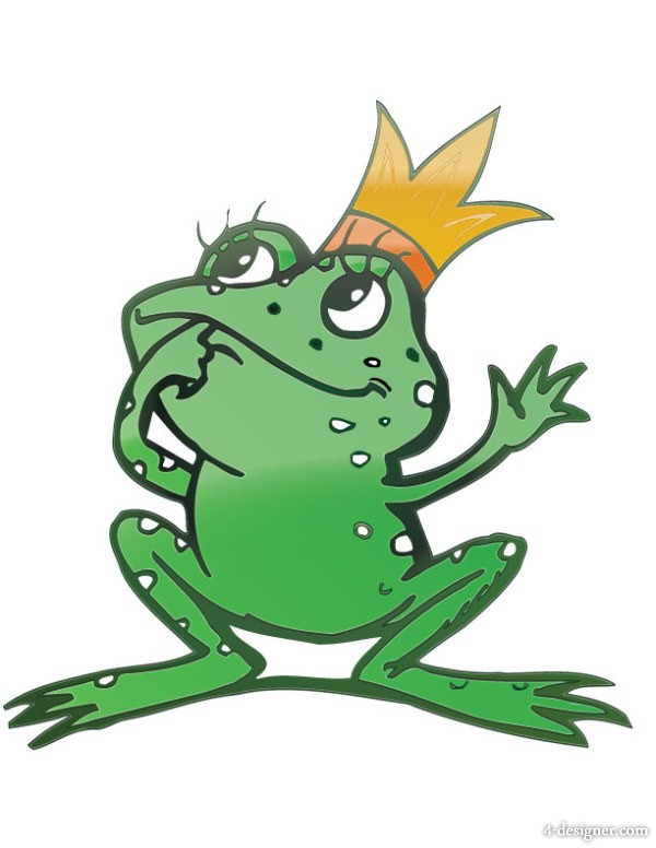 the cartoon Frog Prince Vector