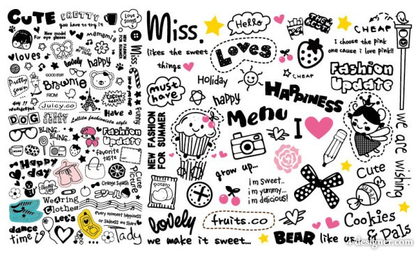 very cute patterns and word combinations vector material