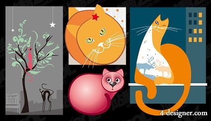4 models cute cat illustrator vector material