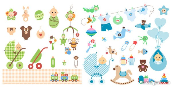 Baby theme vector material