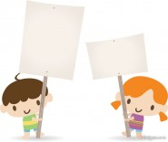 Children placards vector material