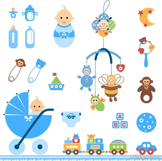 Cute baby toys vector material