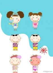 The summer lovely little boy and girl vector material