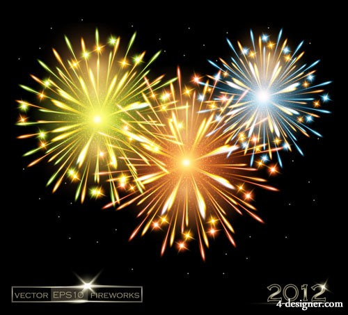 2012 dazzling fireworks background 02   vector material
