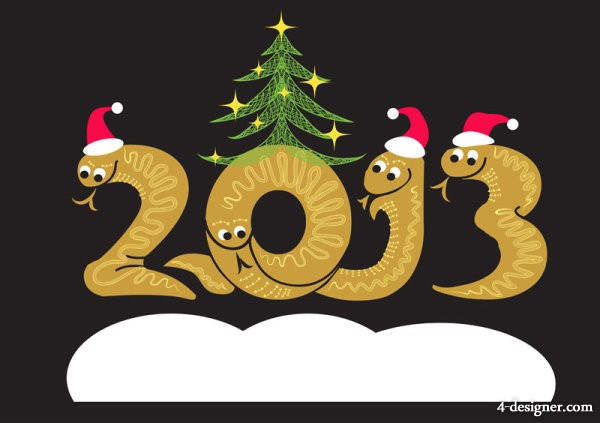 2013 Year of the Snake Christmas cartoon background 01   vector material