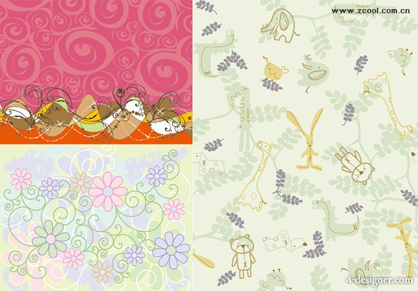 3 lovely pattern background, Vector material