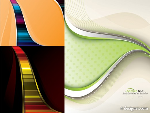 3 models beautiful background lines vector material