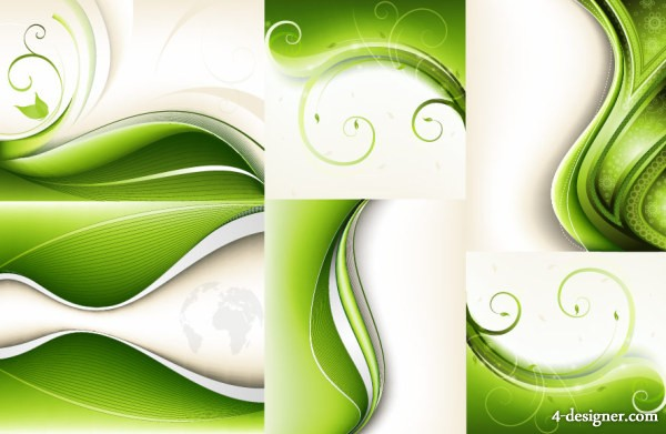 6 green dynamic background vector material