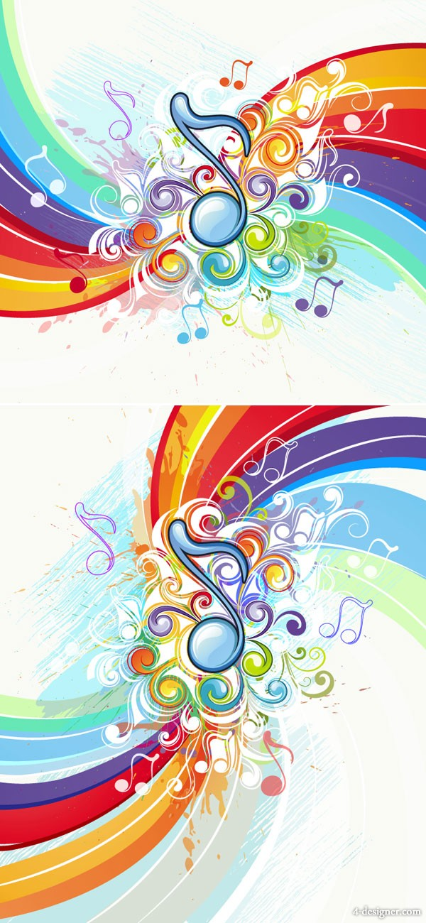 Brilliant musical pattern background 02   vector material