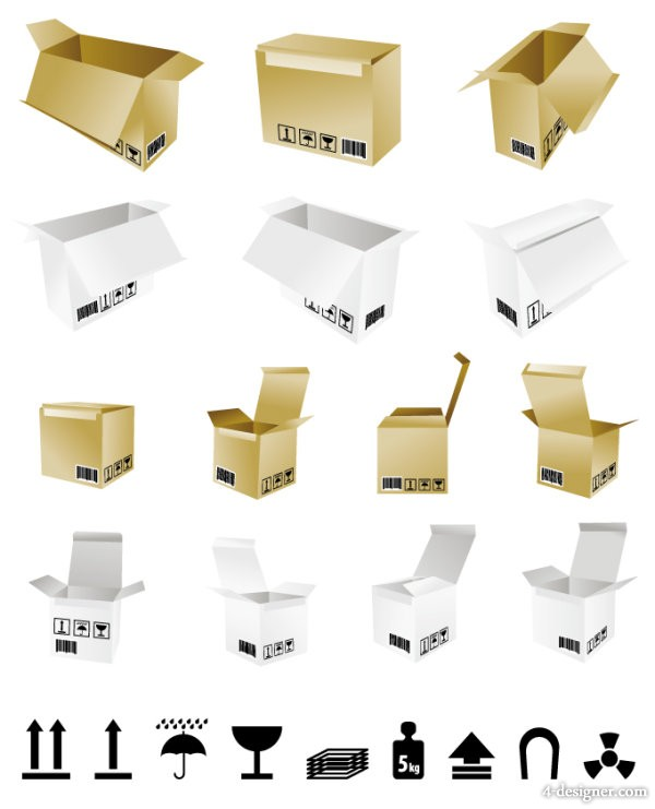 Cardboard boxes and transport logo