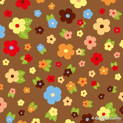 Cartoon flowers and leaves background   Vector