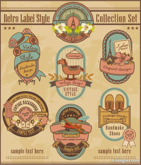 Cartoon retro label 01   vector material