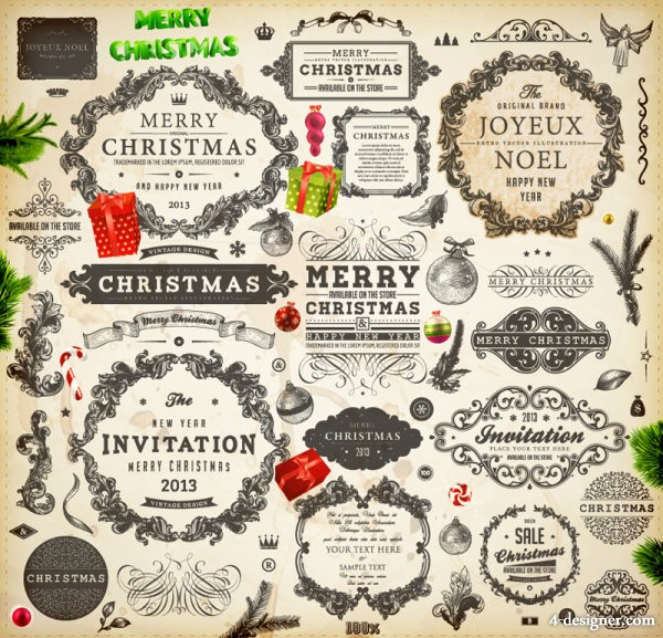 Christmas theme label 02   vector material