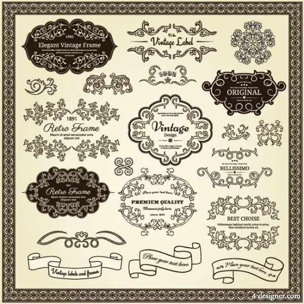 Classic pattern stickers 02 Vector