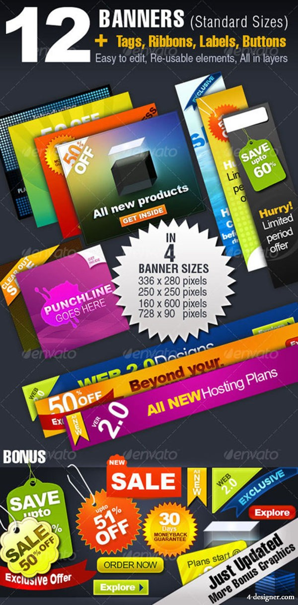 Color label banner   psd layered material