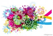 Colorful gears background of 03   Vector