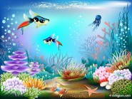 Colorful underwater world 02   vector material