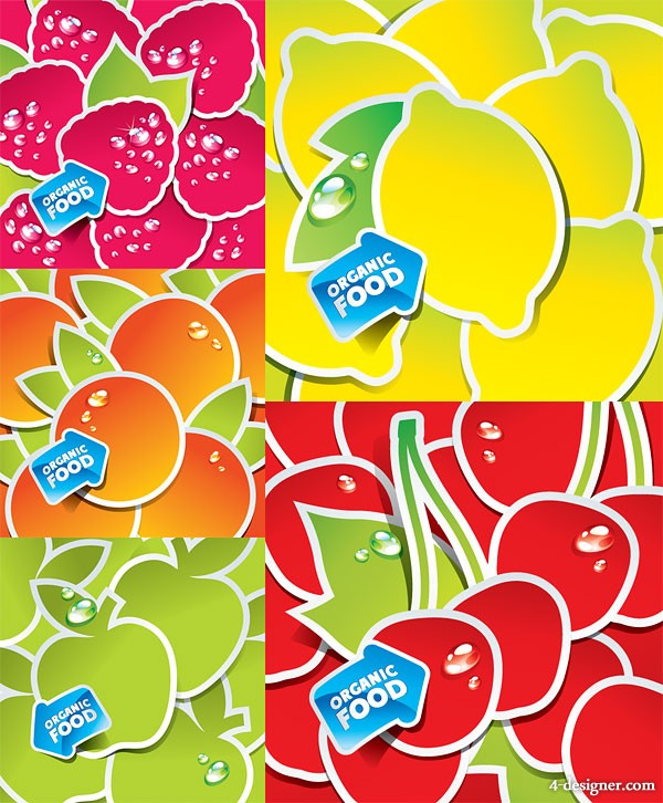 Cute fruit stickers vector material
