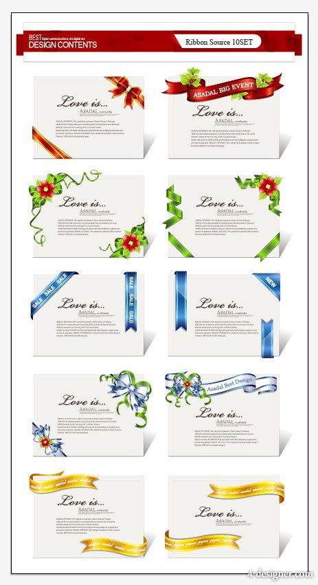 Delicate ribbon collection 01   vector material