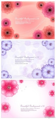 Dynamic flowers background vector material