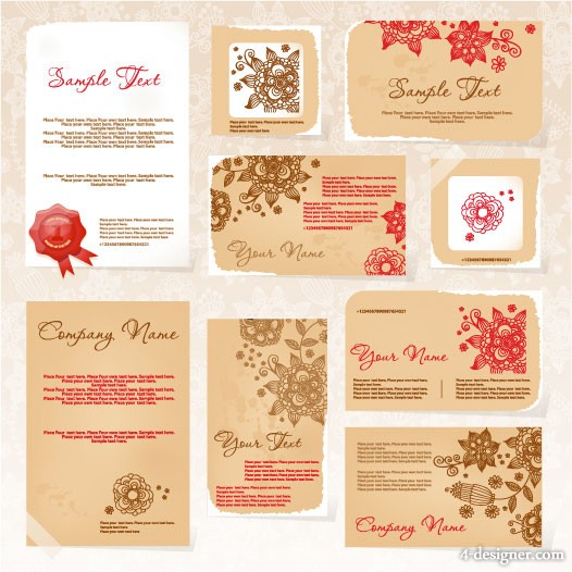 Exquisite pattern card template 01   vector material
