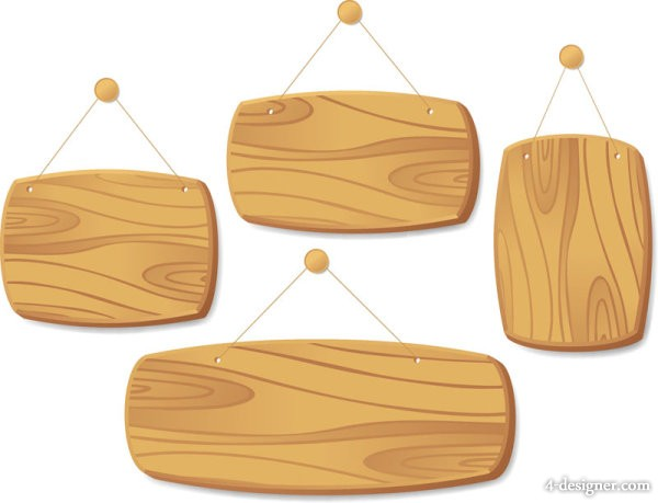Exquisite wood tag 04 vector material