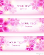 Fantasy flowers background banner template vector material  5