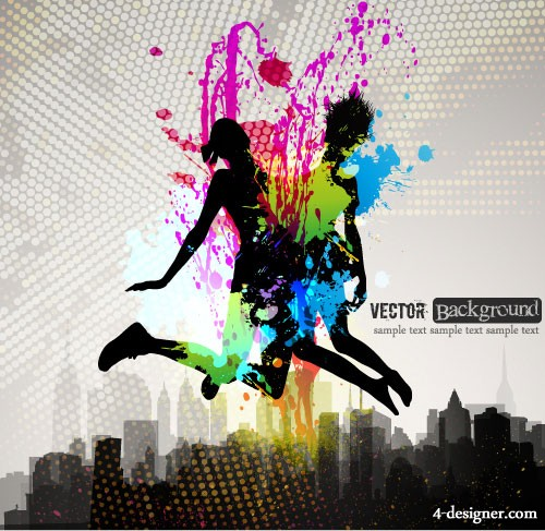 Fashion color splash background 03   vector material