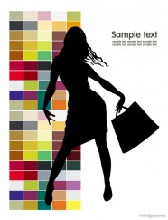 Fashion shopping beauty silhouette 02   vector material