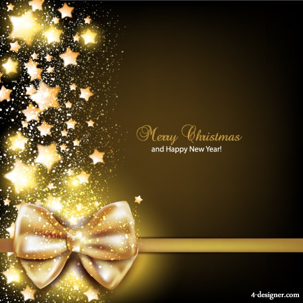 Golden bow card 03   vector material